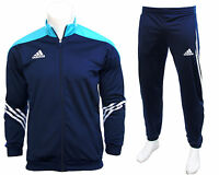 Adidas Sereno Full Mens Zip Tracksuit Jogging Top Bottoms 3 Stripe Size S - XXL
