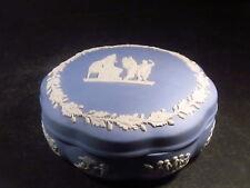 "Wedgwood Jasperware White Blue Round Trinket Box Grecian 2"" X 4 3/4"""