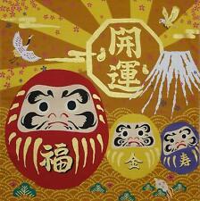 "Japanese Furoshiki Wrapping Cloth Scarf Tapestry 19.75"" Cotton Daruma Good Luck"