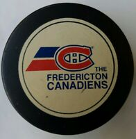 THE FREDERICTON CANADIENS RARE VINTAGE OFFICIAL GAME PUCK APPROVED INGLASCO AHL