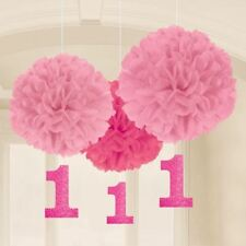 1st Birthday Pink Paper Fluffy Decorations Baby 1st Party