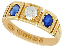 Antique Victorian Sapphire Diamond & 15k Yellow Gold Three Stone Ring