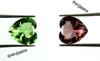 Loose Gemstone Pair 5.90 Ct Heart Shape Green & Pink Sapphire Natural Certified