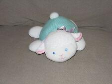 KIDS GIFTS STUFFED PLUSH BABY SHEEP LAMB RATTLE LOVEY TOY WHITE GREEN DOT PURPLE