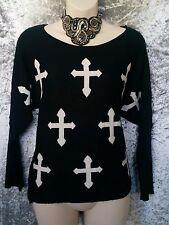 DOTTI Jumper/Top - Cross Crucifix Black White Raglan Goth Gothic Emo - S/8/10/12