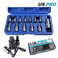 US Pro by Bergen Tools 13pc Metric Hex Bit Socket Set, Mixed DR, Allen Key 2097