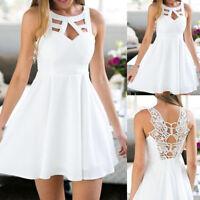Women Boho Backless Lace Mini Dress Sleeveless Evening Party Beach Sundress US