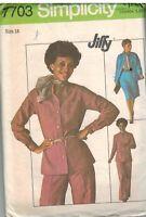 7703 UNCUT Vintage Simplicity Sewing Pattern Misses Jiffy Top Pants Skirt 14 OOP