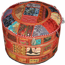 Bohemian Pouf Ottoman Vintage Embroidered Patterned Cocktail Ottoman Footstool