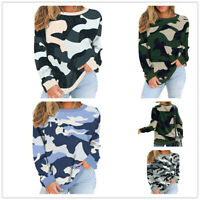 Fashion Women Crew Neck Long Sleeve TShirt Camouflage Loose Blouse Pullover Tops
