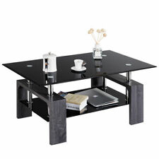 Rectangular Glass Coffee End Side Table w/ Shelf Living Room Furniture Black
