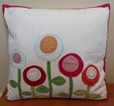 "Pottery Barn Kids White Decorative Pillow Pink Trim Flowers 16"" x 16"""