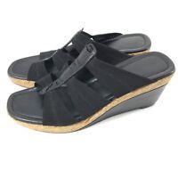 Donald J Pliner Corali Women's Black Gladiator Wedge Heels Size 7.5M $228