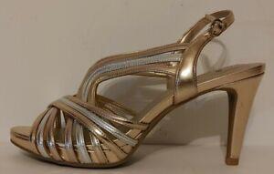 "NEW!!  Bandolino Gold Sandals 3.5""  Heels Size 8.5M US 38.5M EUR"