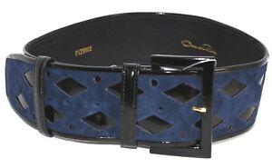 $990 New Oscar de la Renta Suede Patent Leather Belt Cutout Black Navy Blue XS