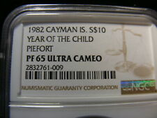 Cayman Islands 1982 Silver Piefort Proof, ULTRA RARE Mintage 74!!!!, PF65-UC NGC