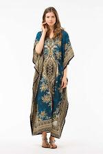 NEW WOMENS LADIES KAFTAN LONG DRESS AFRICAN DRESS TEAL/BLUE DASHIKI SIZE 12-24