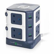 1.8M 8 Way Tower Extension Lead Power Strip Socket Plug Surge Protected 6 USB