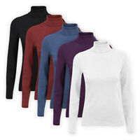 Womens Ladies High Roll Polo Neck Top Stretch Cotton-Blend Casual T-Shirt Jumper