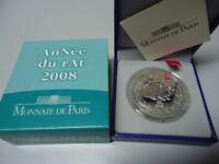 FRANKREICH 2008 - 1/4 Euro in Silber, PP - JAHR DER RATTE Lunar Rat