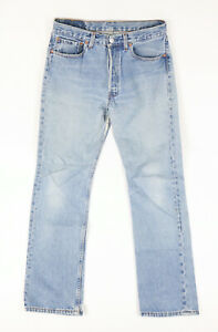 Womens Vintage Levis 501 Distressed Button Fly Blue Jeans Fits 30x32 Made in USA