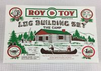 Roy Toy Log Building Set #9 The Camp 37 Pieces Complete - Made in Maine