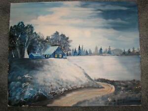 FOLK ART AMERICANA LANDSCAPE HOUSE ON HILL LAKE BLUE COLORS TREES OIL PAINTING
