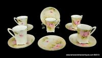 Lot of 11pcs Hand Painted Nippon 5 Cups & 6 Saucers Pink Flowers Green Leaves