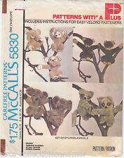 Monkey Koala Bear Raccoon Honey Bear Stuffed McCalls Sew Pattern 5830 Uncut