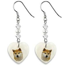Shiba Inu Dog 925 Sterling Silver Heart Mother Of Pearl Dangle Earrings Ep4