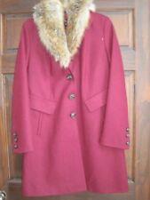 Dana Buchman maroon wool coat jacket fur trim medium NEW button front winter