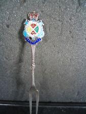 """Vintage Sterling CANADA MONTREAL Souvenir Fork Enameled 4 3/4"""""""