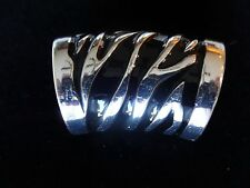 Zebra/Animal Pattern/Animal Print Scarf Ring/Slider Nwt Beautiful Silver & Black