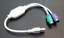 Adapterkabel USB auf 2 X PS/2 Adapter für Maus & Tastatur Aktiv NEU