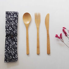 Bamboo Wooden Cutlery Set Spoon Fork Cutter Cutting Reusable Kitchen Tool Bag