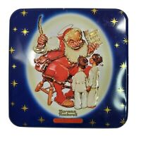 Vintage 1999 Norman Rockwell Circa 1947 Snickers Santa Tin Canister Container