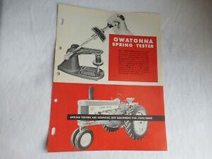 John Deere 730 tractor Owatonna spring tester spec sheet brochure