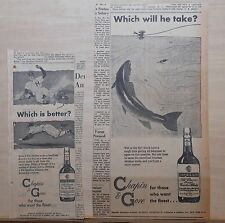 Two 1957 newspaper ads for Chapin & Gore Bourbon Whiskey - fish, baseball scene