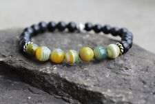 Men's Natural Agate Gemstone and Blackstone Beaded Stretch Bracelet Stackable