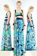 EMILIO PUCCI Runway Multicoloured Silk Gown dress-y skirt IT 40,US4-6,UK 8,XS-S