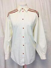Vintage 1980's Tartan Accent White Shirt. Long Sleeved. Women's. Size 13.