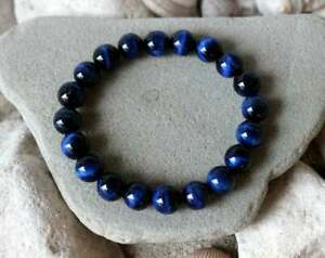 Blue Tigers Eye Gemstone 8mm Men & Women 1 Bracelet Size 7.5 Inch Free Shipping