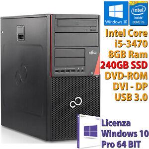 PC COMPUTER DESKTOP FUJITSU RICONDIZIONATO CORE i5-3470 RAM 8GB SSD 240GB WIN 10