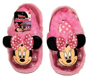 MINNIE MOUSE Plush Slippers w/ Pink Bow & Ears NWT Toddler's Sizes 7-8 or 9-10