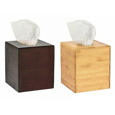 Alpine Industries Bamboo Square Tissue Box Cover Cube Dispenser Holder