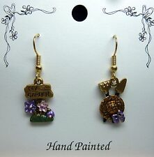 Hand Painted Flower My Garden Hat Tools Charm Earrings Purple