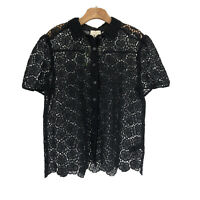 Kate Spade Womens Bloom Flower Lace Top Blouse Large L Black  NWT