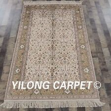 YILONG 4'x6' Hand Knotted Silk Area Rug Living Room Traditional Carpet 869B
