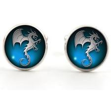 Men's Party Shirt Glass Blue Pterosaurs Silver Brass Copper Cufflinks Cuff Links