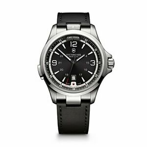 Victorinox 241664 Night Vision Swiss Quartz Black Leather Strap Mens Watch